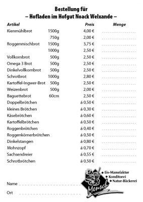 Brötchenzettel Hofladen Thiendorf