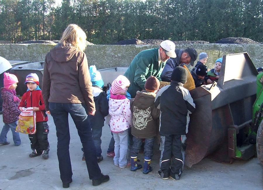 Schulkinder bringen Kastanien